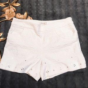 Anthropologie Elevenses Ivory Beyza Shorts Size 12